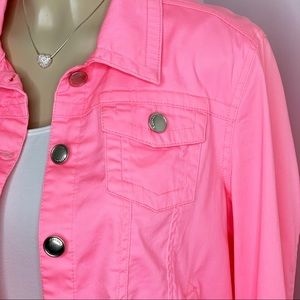 JOU JOU Bright Pink Denim Lightweight Jacket Sz XL